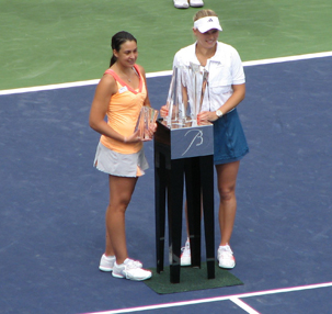 Wozniacki and Bartole With Trophies